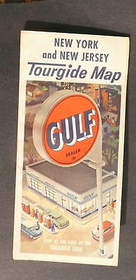 1960 New York New Jersey road map Gulf oil early IS