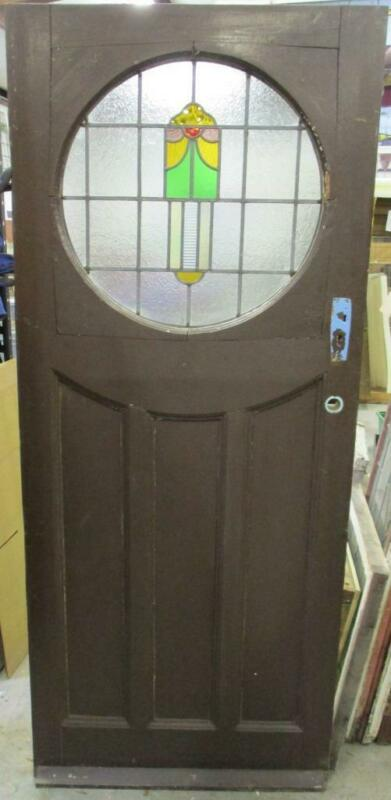 "OLD ENGLISH Stained Glass Door Pretty Abstract Circular Design 34"" x 81"""
