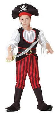 Eleganter Piratenkapitän - Piraten Kostüm Kinder Jungen rot-schwarz-weiß 881223 ()
