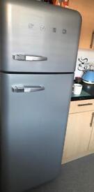 Silver Smeg retro Fridge Freezer