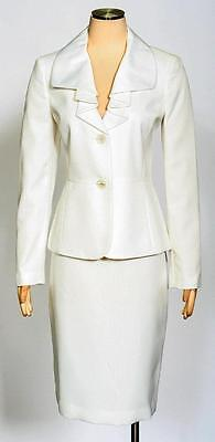Le Suit Vanilla Ice Skirt Suit Size 8 Ruched Satin Collar Textured Women's New*