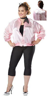 Grease The Pink Satin Ladies Plus Size Jacket Costume (The Pink Ladies Jackets)