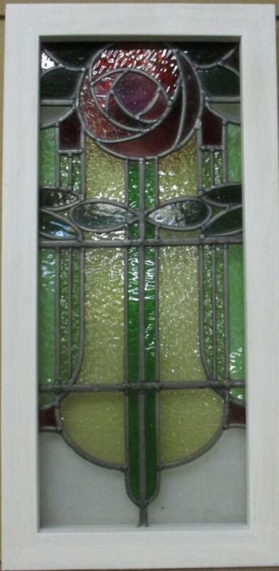 """OLD ENGLISH LEADED STAINED GLASS WINDOW. Vertical Gorgeous Rose 13.75"""" x 27.75"""""""