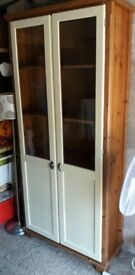 For sale tall solid pine display cabinet