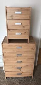 Double Wardrobe, 5 draw unit + bedside table