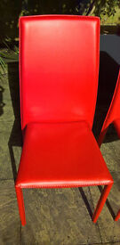 2 x New Red Leather Dining chairs