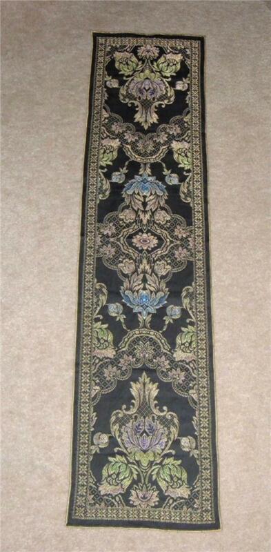 "Vintage Art Deco Nouveau Silk Brocade Tapestry Dresser Table Runner 49"" x 11.5"""