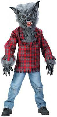 Deluxe Werewolf Child Costume - Boys Child Scary Deluxe Tattered Grey Werewolf Monster Costume Outfit W/ Mask