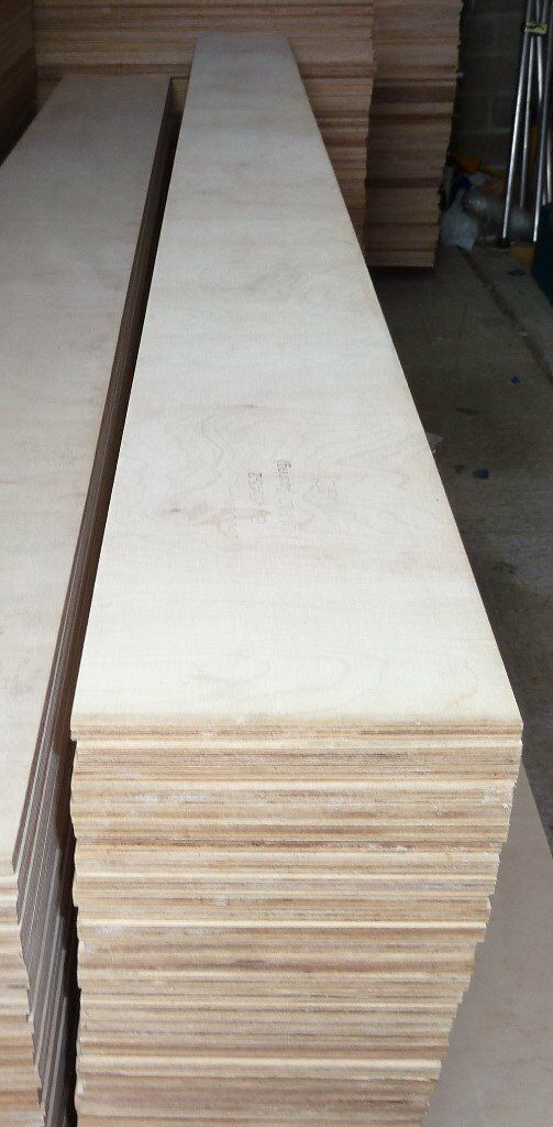 5 Pieces Of NEW 12mm B/BB Grade Birch Plywood 8ft X 10.5in (