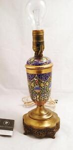Antique Hand Painted Brass And Glass Lamp (Condition Noted)