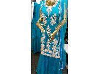 """Turquoise heavy stonework wedding party dress lehnga Indian size 8 36"""" bnwot NEW!!!"""