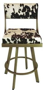 Swivel Counter Height Bar Stool in Gold Metal Frame n Brown Cow Fabric Made in Canada