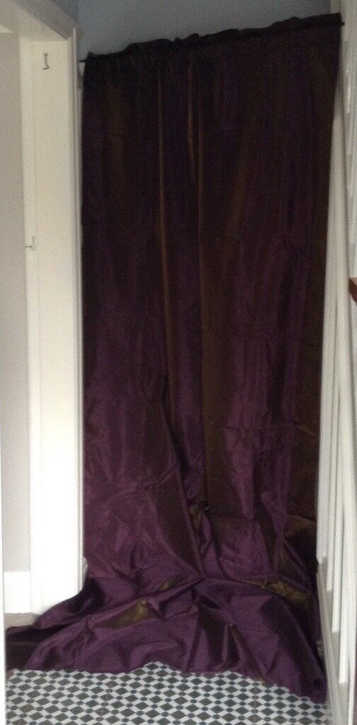 Extra Long A Pair Of Ikea Felicia Curtains With Tie