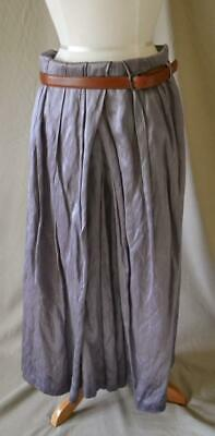 Dries van Noten Silver Skirt with Leather Belt Size 40 Heavy Silk & Cotton](Vans With Skirts)