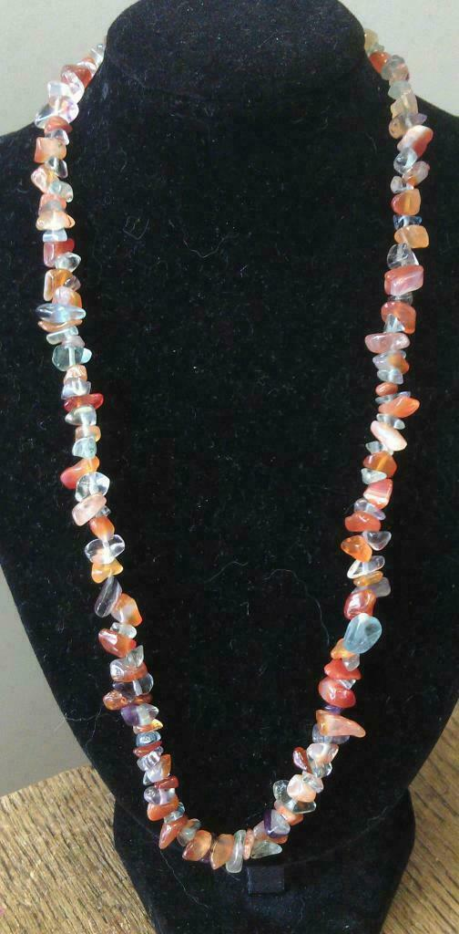 "Carnelian and Fluorite Chip Necklace 16"" to 34"", Long Necklace, Short Necklace"