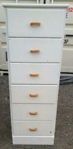 HIGH DRESSER Oakville 19x16x53 SOLID WOOD Skinny Tall Boy Chest  6 Drawers White Mid-Century Retro