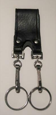 Double Key Ring with Leather Belt Strap - Black Leather - Fi