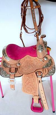"10"" Lite w/PINK Seat Silver Tooled Show Package Trail Western Saddle 4pc HSBP"