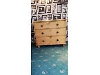 Antique Pine 3 Drawer chest of drawers