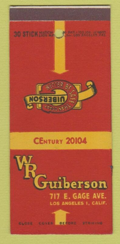 Matchbook Cover - WR Guiberson Los Angeles CA Oil Equipment 30 Stick SAMPLE