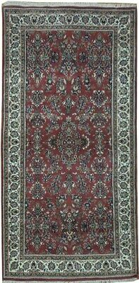 Traditional Affordable Hand-Knotted Carpet 3x7 ft Wool Red Sarouk Rug