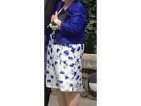 Jacques Vert Dress & Jacket White Sapphire Blue Outfit Mother of Bride BNWT