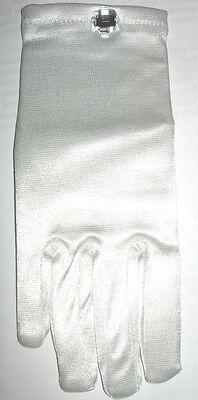 Girl's Fancy Dress White Gloves Clear Stone Rhinestone Princess Nip Child Satin