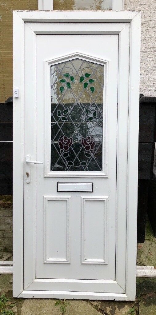White UPVC Front Door and frame | in Blackpool, Lancashire | Gumtree