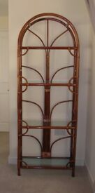 CANE DISPLAY CABINET WITH 4 GLASS SHELVES AND CANE COFFEE TABLE WITH GLASS TOP