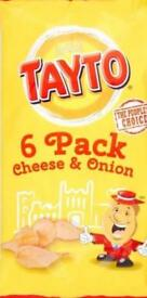 Tayto crisps cheese and onion or variety