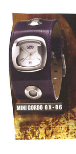 NEW GRATIS STAINLESS STEEL WATCH PURPLE LEATHER STRAP WITH LEATHER EFFECT CASE