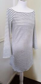 Brand New - White Black Stripe Off Shoulder Trumpet Sleeve Tunic/ Dress - SIZE 18