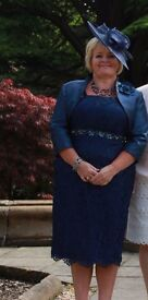 Catherines of Partick mother of the bride dress & Bolero jacket size 16/18 matching 'hatenator'