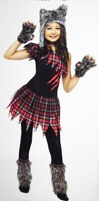 Werewolf Girl Costume Halloween (Girls Wild Wolf WEREWOLF Halloween Costume Plaid Dress Purim M Lg 8 10 12 14)