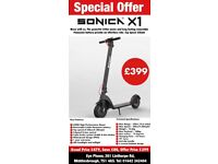 Brand New Sonica X1 electric scooters, top speed 32mph, 10 inch tyres, removable battery