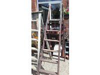 Tall wooden vintage step ladder