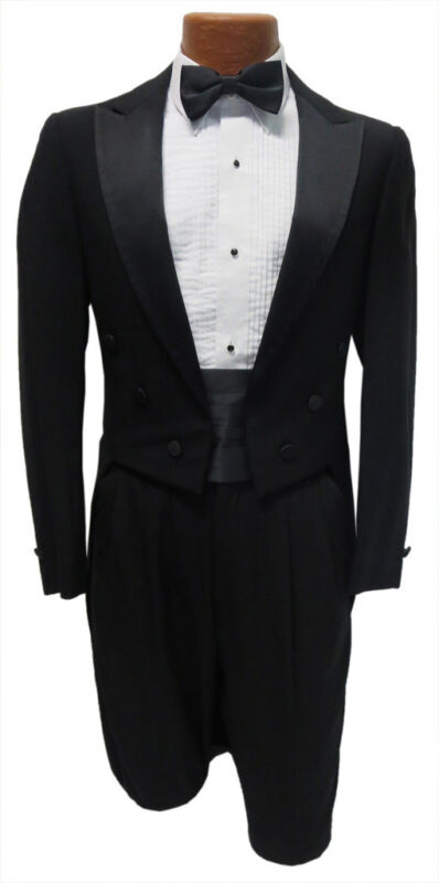 Boys Size 7 Black Tuxedo Tailcoat Long Tails White Tie Wedding Ring Bearer