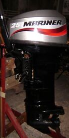 Mariner 25hp Long Shaft 2 Stroke twin cylinder outboard motor Approx. 5 hours use from new
