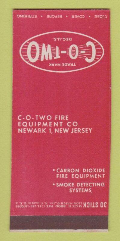 Matchbook Cover - CO Two Fire Equipment Newark NJ 30 Stick SAMPLE