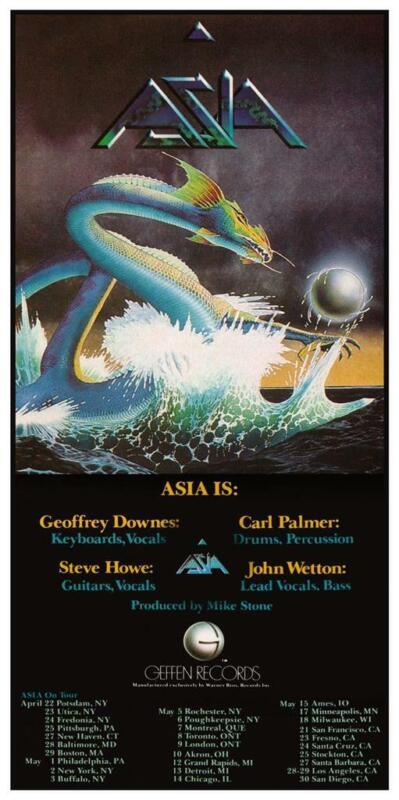 "ASIA - 24"" POSTER - John Wetton Steve Howe Carl Palmer Geoff Downes LIVE CONCERT"