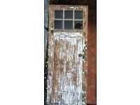 VICTORIAN WOODEN FRONT DOOR, ORIGINAL GLASS, FURNITURE AND KEY. £OPEN TO SENSIBLE OFFERS.