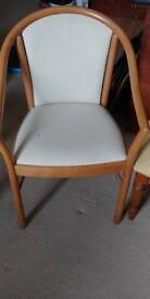 Nice Wooden upholstered chairs and foot stool