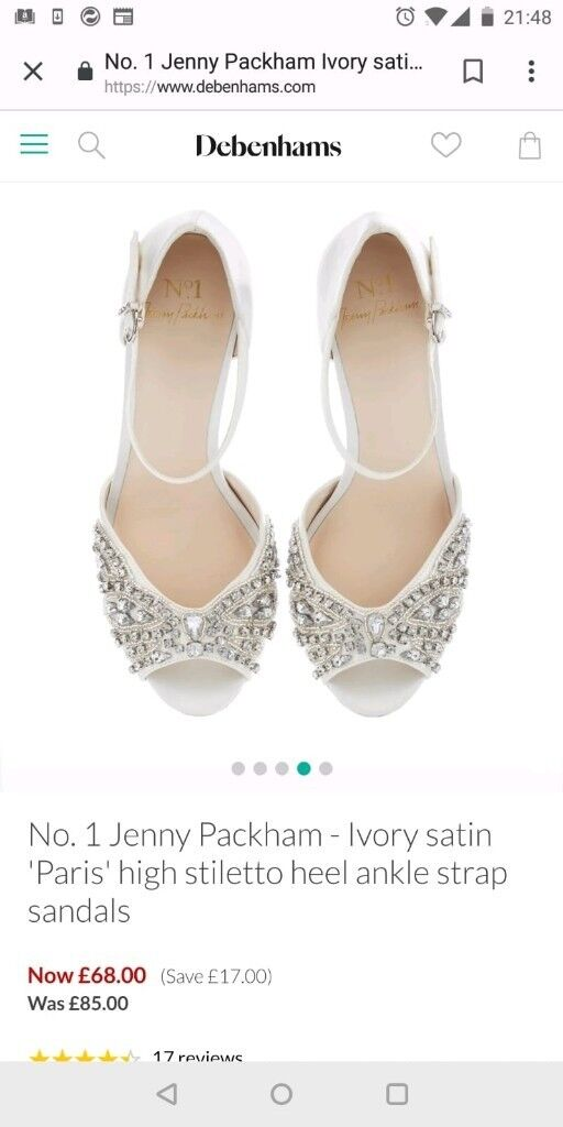 e9117f12485 Jenny Packham ivory satin Paris high heeled stiletto
