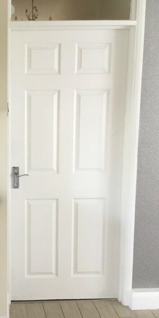 Eight White Six Panel Internal Doors Chrome Handles And Hinges