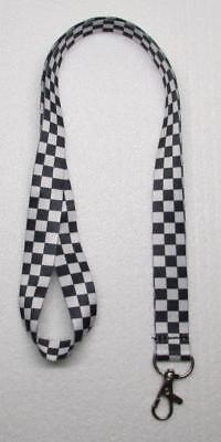 Black White CHECKER Flag LANYARD KEY CHAIN Ring Keychain ID Holder NEW](Checkered Flag Ring)