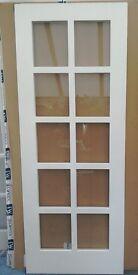NEW Contemporary Jeldwen / B&Q 10 Lite Glazed Primed Internal Door 762mm - Leics