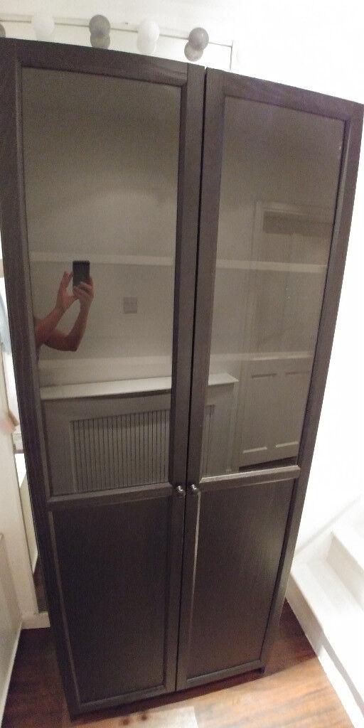 Ikea Hemnes Black Brown Bookcase Cabinet With Panel Glass Doors