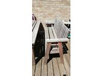 Solid wood garden table and 2 x 3 seater bench