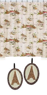 I LOVE PARIS Eiffel Tower Script Shower Curtain & Hooks NIP Creative Bath DISC Disc Shower Curtain Hooks