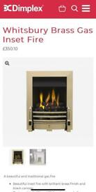 RRP £350! DIMPLEX WHITSBURY BRASS GAS MULTIFLUE INSET FIRE